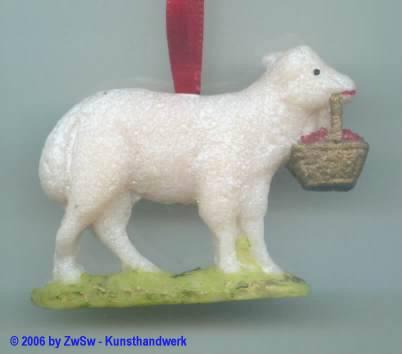 Osteranhänger Lamm mit Korb, 6cm x 4,3cm