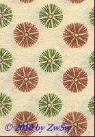 Handgefertigtes Papier grün/kupfer Kornblumen