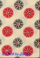 Handgefertigtes Papier Kornblumen rot/ebenholz