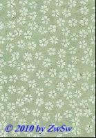 Handgefertigtes Papier zartgrün/Blumen