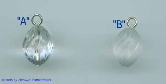 1 Gekettelte Acrylglasperle in kristall 11mm x 15mm