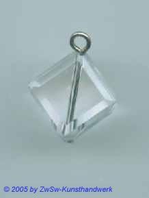1 Gekettelte Acrylglaswürfel in kristall 12mm x 12mm