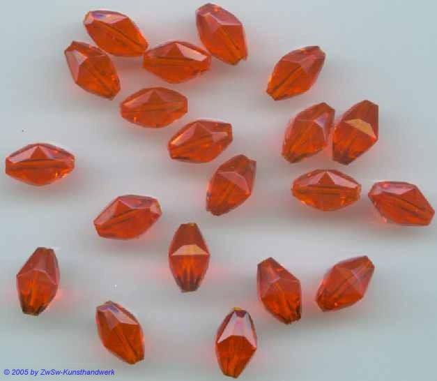 Acrylglasperle in orange 11mm x 7mm, 25 Stück