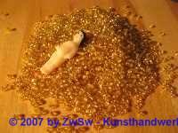 Rocailles 3 mm bernstein mit silbereinzug 20 g