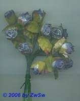 Röschen mit Blätter blau