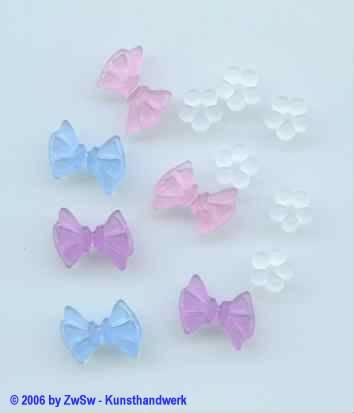 Schleifen aus Acryl rosa 5 Stück
