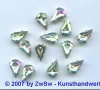 1 gefasster Schmuckstein kristall/AB Tropfen 10 x 6mm
