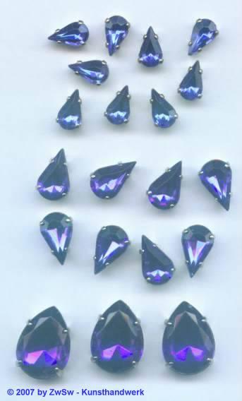 1 Schmuckstein gef. blau 10mm x 6mm silber