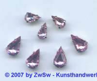Schmuckstein gefasst rosa 1 Stück 10mm x 6mm