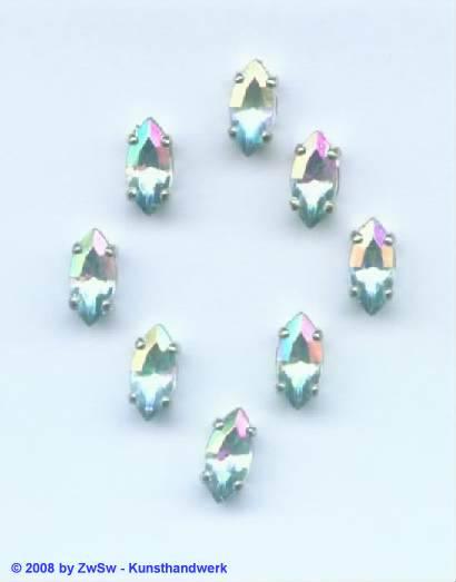 Schmuckstein gefasst kristall/AB 1 Stück 10mm x 5mm