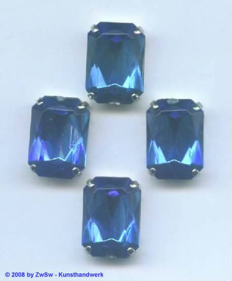 Schmuckstein gefasst blau 1 Stück 18mm x 13mm