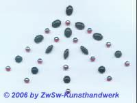 1 Set aus schwarz und rot/AB Steinchen