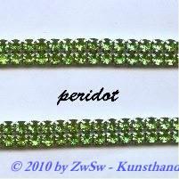 Strassband zweireihig in hellgrün, 50cm