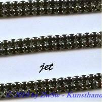 Strassband zweireihig in schwarz, 50cm