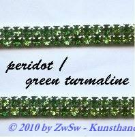 Strassband zweireihig in grünmix, 50cm
