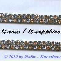 Strassband zweireihig in rosa-hellblau, 50cm