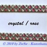 Strassband zweireihig in kristall-altrosa, 50cm