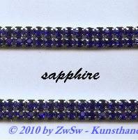 Strassband zweireihig in dunkelblau, 50cm