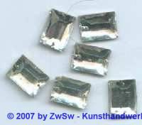 1 Strassstein rechteckig, 12mm x 8mm (kristall)
