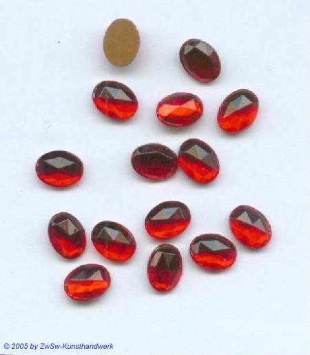 Strasssteine 1 Stück, 8mm x 6mm (rubin)