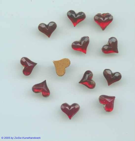 Herz 1 Stück, 9mm x 8mm  (granat)
