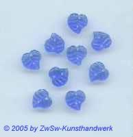 Strassstein 1 Stück, Blattform (blau), 9mm x 9mm