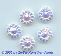 Blütenstrassstein 1 Stück (weiß/AB), Ø 13mm