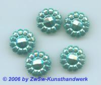 Blütenstrassstein 1 Stück türkis/AB, Ø 13mm