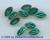 Spitzoval, grün, geprägt, 1 Stück, 12mm x 7mm