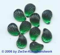 Muschelstrassstein grün, 1 Stück, 13mm x 10mm