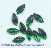 Strassstein in Blattform 1 Stück grün, 15mm x 7mm