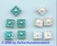Strass/quadratisch 11mm x 11mm hot fix (türkis), 1 Stück