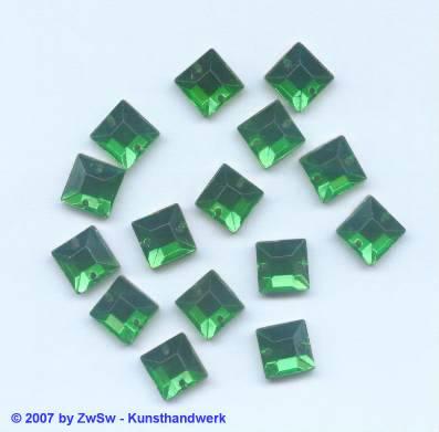 Strassstein 1 Stück, 8mm x 8mm (grün)
