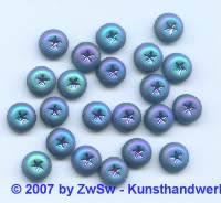 1Zierstein mit Sternenprägung scarabeus/frosted, Ø 9mm