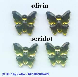 1 Strassstein Schmetterling olivin