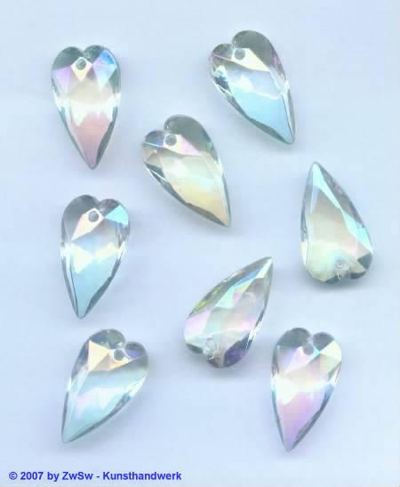 Lüsterstein Herz kristall/AB, länge 23mm