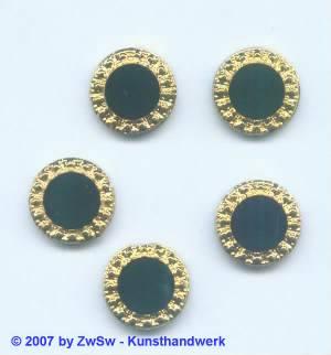 1 Stein schwarz mit Goldrand, Ø 13mm