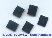 Aufnähplatte 19mm x 12mm, schwarz, 5 Stück