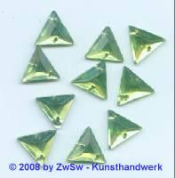 Strassstein, 1 Stück, Kante 13mm  (hellgrün)