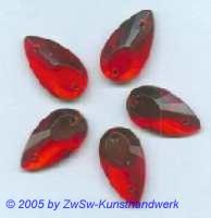 1 Strassstein als Tropfen (rot),  18mm x 10mm