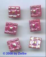Strass/quadratisch 11mm x 11mm (sattrot/AB) 1 Stück