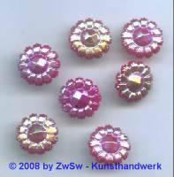 Blütenstrassstein 1 Stück  (sattrot/AB), Ø 13mm