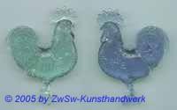 1 Hahn aus Acrylglas hellgrün, 80mm x 60mm