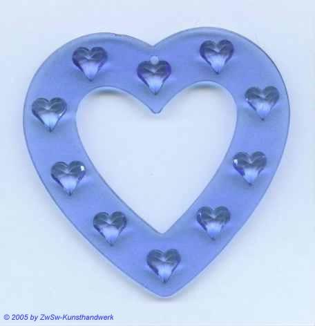 Durchbrochenes Herz aus Acrylglas in blau