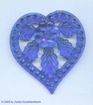 Herz mit Blumenmotiv aus Acryl in blau