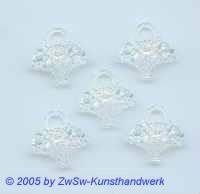 5 x Blumenkorb aus Acryl in kristall/AB, 20mm x 18mm