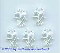 Vogelpaar in wachsweiß 5 Stück, 15mm x 21mm
