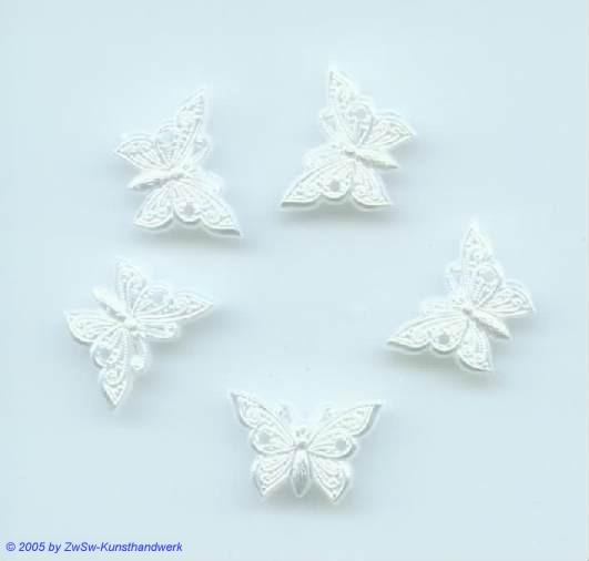 Schmetterling wachsweiss, 5 Stück, Acryl