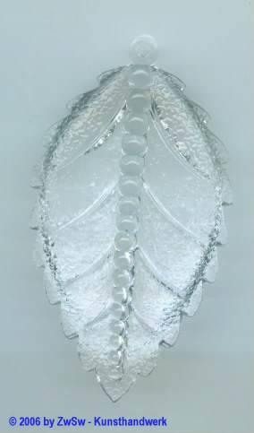 Birkenblatt kristall 1 Stück 70mm x 40mm
